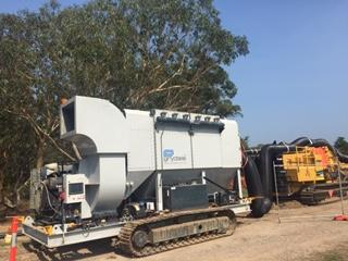Mobile Dust Collector working alongside trencher