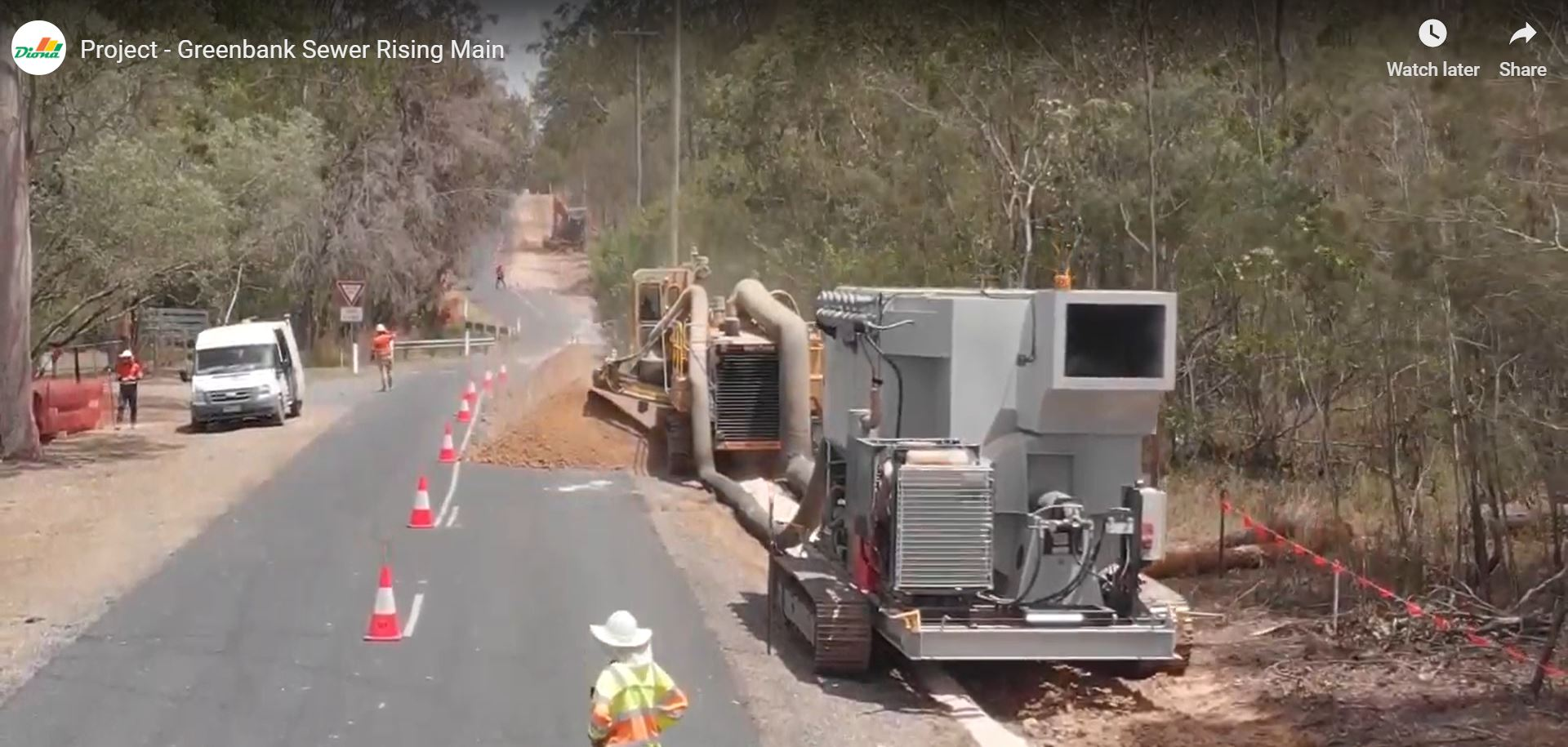 Mobile Diesel Track Dust Collector working alongside trencher