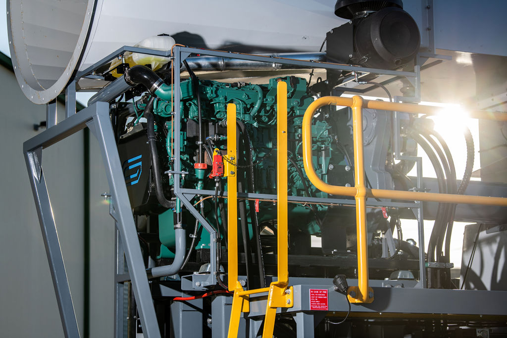 Close-up look at the JMS-50-MDT Volvo Penta T4 Engine
